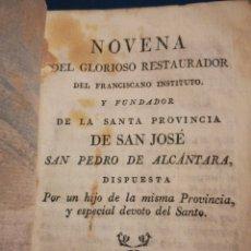 Libros antiguos: NOVENA DEL GLORIOSO SÁN PEDRO DE ALCÁNTARA TOLEDO 1818. Lote 195520963