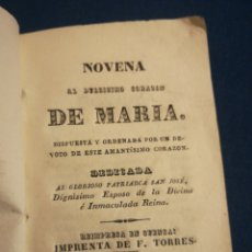 Libros antiguos: NOVENA AL CORAZÓN DE MARÍA IMPRENTA DE F TORRES 1845. Lote 195522232