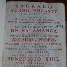 Libros antiguos: JOSEPH VENTURA: SAGRADO AUREO ENGASTE DE LA MEJOR JOYA COMPUESTA DE… SALAMANCA FIESTAS. 1745. Lote 195674272