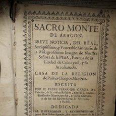 Libros antiguos: SACROMONTE DE ARAGÓN AÑO 1715. Lote 197029008