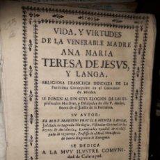 Libros antiguos: VIDA DE LA MADRE TERESA DE JESUS Y LANGA AÑO 1739. Lote 197030416