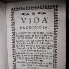 Libros antiguos: VIDA DE FR.SILVESTRE DE ESTELLA AÑO 1731. Lote 197032136