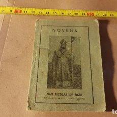 Libros antiguos: NOVENA. AÑO 1938. SAN NICOLÁS DE BARI. SEGOVIA. Lote 198527580