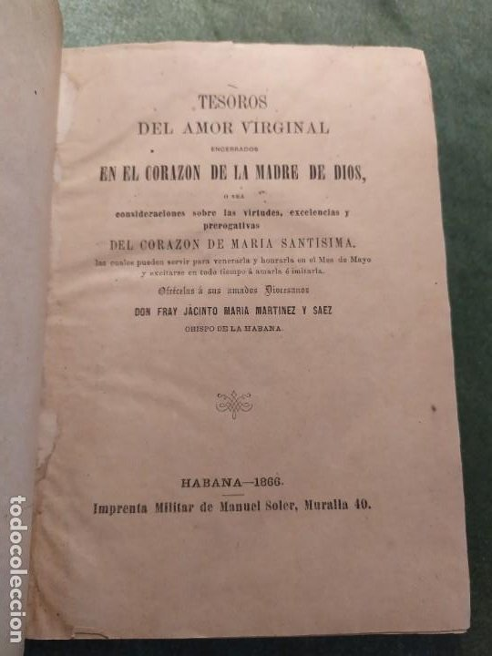 1866. TESOROS DEL AMOR VIRGINAL EN EL CORAZÓN DE LA MADRE DE DIOS. OBISPO DE LA HABANA. (Libros Antiguos, Raros y Curiosos - Religión)