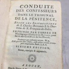 Libros antiguos: CONDUITE DE CONFESSEURS. EN FRANCÉS, CONDUCTA DE CONFESORES EN EL TRIBUNAL DE LA PENITENCIA 1785. Lote 199069231