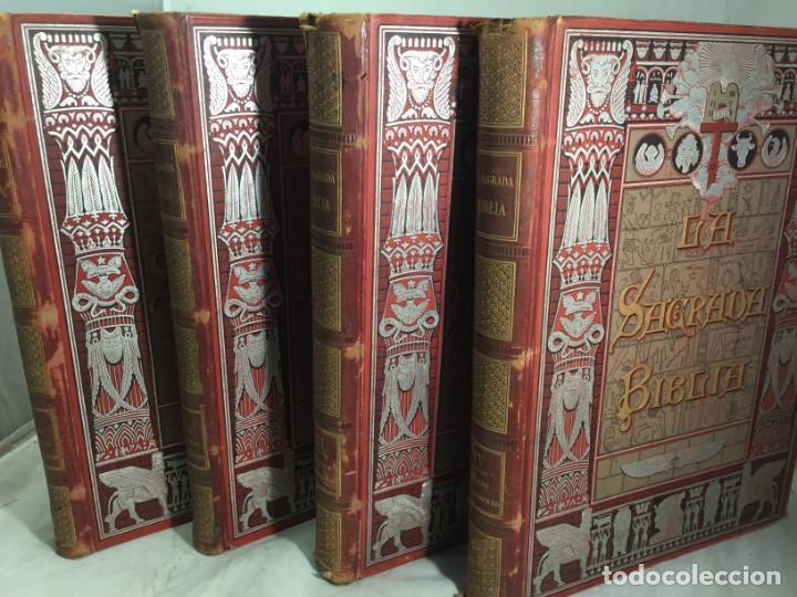 LA SAGRADA BIBLIA 1883 MONTANER Y SIMÓN, EDICIÓN DE LUJO 4 TOMOS. ILUSTRADA LAMINAS GUSTAVO DORÉ (Libros Antiguos, Raros y Curiosos - Religión)
