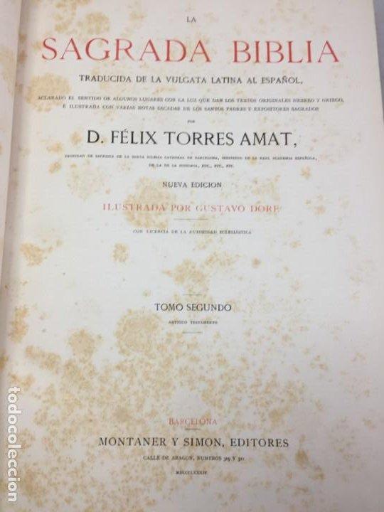 Libros antiguos: LA SAGRADA BIBLIA 1883 Montaner y Simón, edición de lujo 4 tomos. Ilustrada Laminas Gustavo Doré - Foto 15 - 201155431