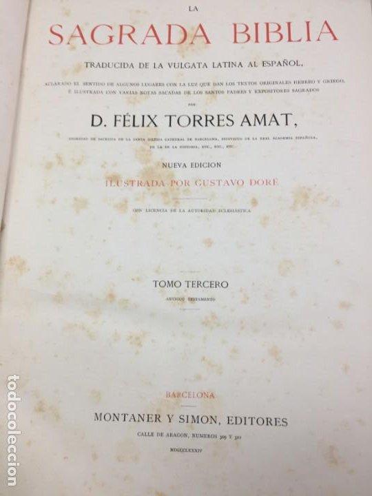 Libros antiguos: LA SAGRADA BIBLIA 1883 Montaner y Simón, edición de lujo 4 tomos. Ilustrada Laminas Gustavo Doré - Foto 25 - 201155431