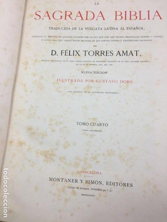 Libros antiguos: LA SAGRADA BIBLIA 1883 Montaner y Simón, edición de lujo 4 tomos. Ilustrada Laminas Gustavo Doré - Foto 34 - 201155431