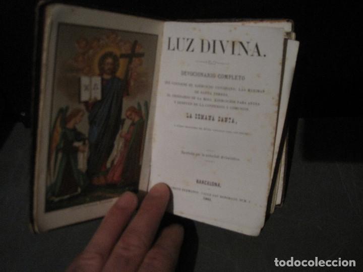 Libros antiguos: Luz divina. Devocionario. Llorens Barcelona 1865 - Foto 2 - 202500108