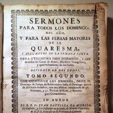Libros antiguos: MURCIA, JUAN BT. DE - SERMONES PARA TODOS LOS DOMINGOS DEL AÑO. TOMO II - BARCELONA 1755. Lote 202649416