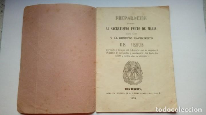 PREPARACION ESPIRITUAL AL SACRATISIMO PARTO DE MARIA Y BENDITO NACIMIENTO DE JESUS 1859 (Libros Antiguos, Raros y Curiosos - Religión)