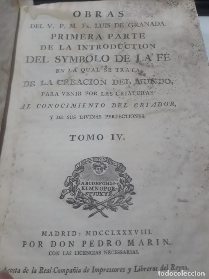 Libros antiguos: 1787 OBRAS DE FRAY LUIS DE GRANADA PERGAMINO SIMBOLO DE LA FE - Foto 3 - 205555256