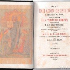 Libros antiguos: DE LA IMITACIÓN DE CRISTO - TOMÁS DE KEMPIS - JOSÉ PALAU - LLORENS HERMANOS 1886. Lote 205701716