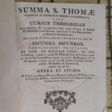 Libros antiguos: 1790. SUMMA S. THOMAE SIVE CURSUS THEOLOGIAE. FR. CAROLI RENATI BILLUART. FOLIO. PIEL.. Lote 205819202