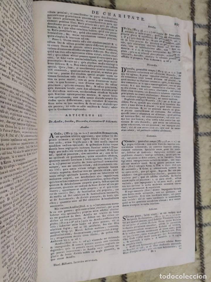 Libros antiguos: 1790. Summa S. Thomae sive cursus theologiae. Fr. Caroli Renati Billuart. Folio. Piel. - Foto 5 - 205819202
