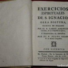 Libros antiguos: EXERCICIOS ESPIRITUALES DE S. IGNACIO. CATANNEO, MADRID, 1776. Lote 206932515