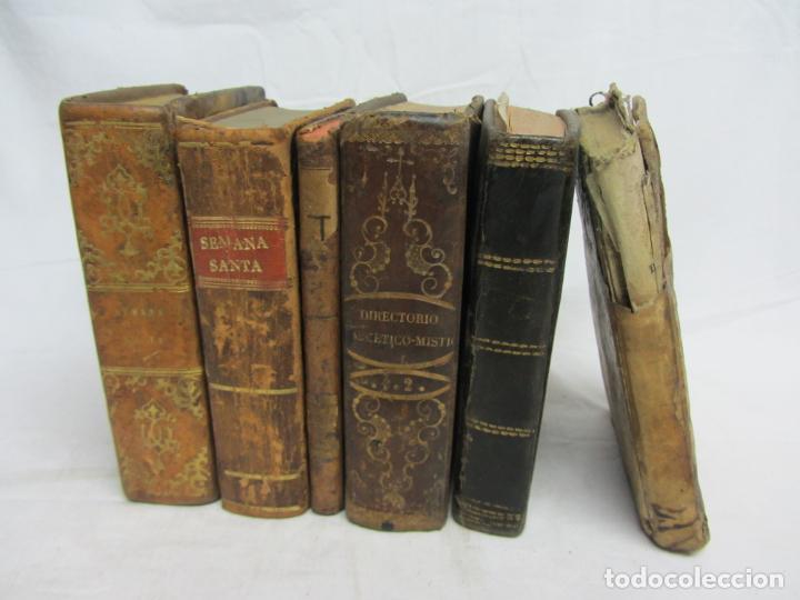6 LIBROS PARA DECORACIÓN O ATREZZO DE TEMÁTICA RELIGIOSA. S.XIX (Libros Antiguos, Raros y Curiosos - Religión)