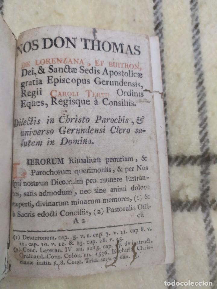 1788. MANUALE RITUALIS. TOMÁS DE LORENZANA Y BUITRÓN. OBISPO DE GERONA. RARO. (Libros Antiguos, Raros y Curiosos - Religión)