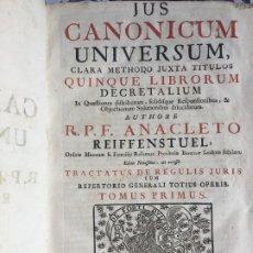 Livres anciens: LIBRO PERGAMINO. JUS CANONICUM UNIVERSUM , TOMUS PRIMUS - TAMAÑO ENORME 36X23 - AÑO 1755. Lote 210273360