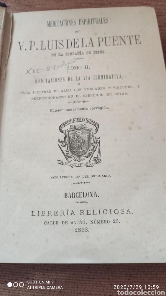 Libros antiguos: MEDITACIONES ESPIRITUALES, TOMO II, 1893 Y III, 1900, LA PUENTE, VER, ÚNICOS - Foto 3 - 213135433