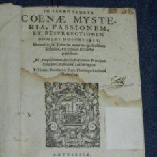 Libros antiguos: (MF) F THOMA BEAUXAMIS - IN SACRO SANCTA COENAE MYSTERIA, PASSIONEM ET RESURRECTIONEM 1573 ORIGINAL. Lote 218522442
