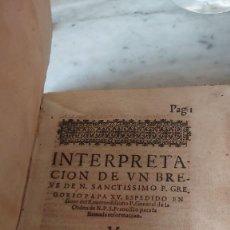 Libros antiguos: PRPM INTERPRETACIÓN DE UN BREVE DE NUESTRO SANTÍSIMO PAPA GREGORIO XV AÑO 1623. Lote 218624335