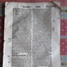 Libri antichi: 1493-SANTO TOMÁS DE AQUINO. SUMMA TEOLÓGICA. INCUNABULA INCUNABLE.HOJA ORIGINAL.RCVIII. Lote 219256603