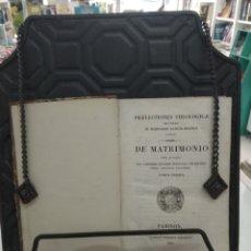 Libros antiguos: PRÆLECTIONES THEOLOGICÆ ... DE MATRIMONIO OPERA ET STUDIO JOS CARRIERE TOMO I PARIS 1837 LATIN RARO. Lote 219279288