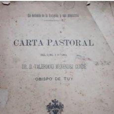 Libros antiguos: CARTA PASTORAL OBISPO DE TUY 1901.. Lote 220070696