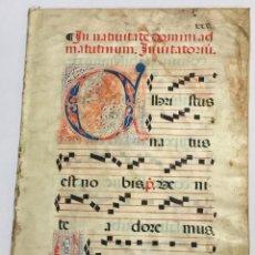 Libros antiguos: [MANUSCRITO]. [FRAGMENTO DE MÚSICA LITÚRGICA]. SIGLO XVI. PERGAMINO.. Lote 221556066