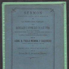 Libros antiguos: PRIMER MISA CANTADA DEL BACHILLER D. FRANCISCO DE ASIS VERA - MEDINA Y GUERRERO, P. - A. DE CASTRO. Lote 221709622