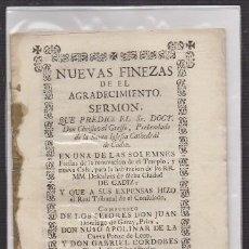 Libros antiguos: NUEVAS FINEZAS DE EL AGRADECIMIENTO. SERMON EN LA CATEDRAL… - A-CA-2920. Lote 221711503