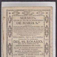Libros antiguos: SERMON QUE EN EL DIA DE LA PURIFICACION DE MARIA STMA. PREDICO JOSEPH THOMAS VVADDING - A-CA-2921. Lote 221711593