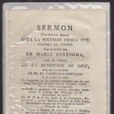 Libros antiguos: SERMON DOGMATICO MORAL PAR LA SOLEMNE FIESTA DE LA ARCHICOFRADIA DE MARIA SANTISIMA… - A-CA-2922. Lote 221711812