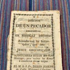 Libros antiguos: RD- SIGLO XVIII LIBRITO AFECTOS DE UN PECADOR ARREPENTIDO EN MÍSTICAS DÉCIMAS CÁDIZ. Lote 221785387