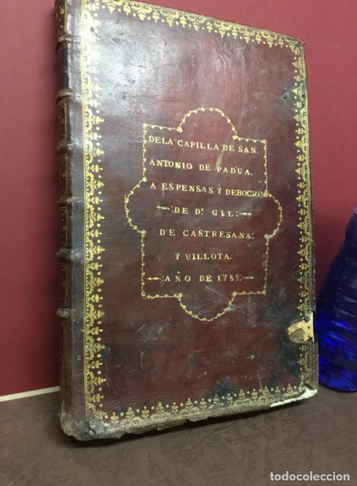 Libros antiguos: Antiguo libro de la capilla de San Antonio de Padua 1785 - Foto 2 - 222055750