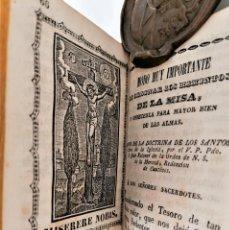 Libros antiguos: ANTIGUO LIBRO, SIGLO XVIII,PREPARACION PARA LA MISA,MISA DE DIFUNTOS Y OTROS,EN CATALAN Y CASTELLANO. Lote 222199906
