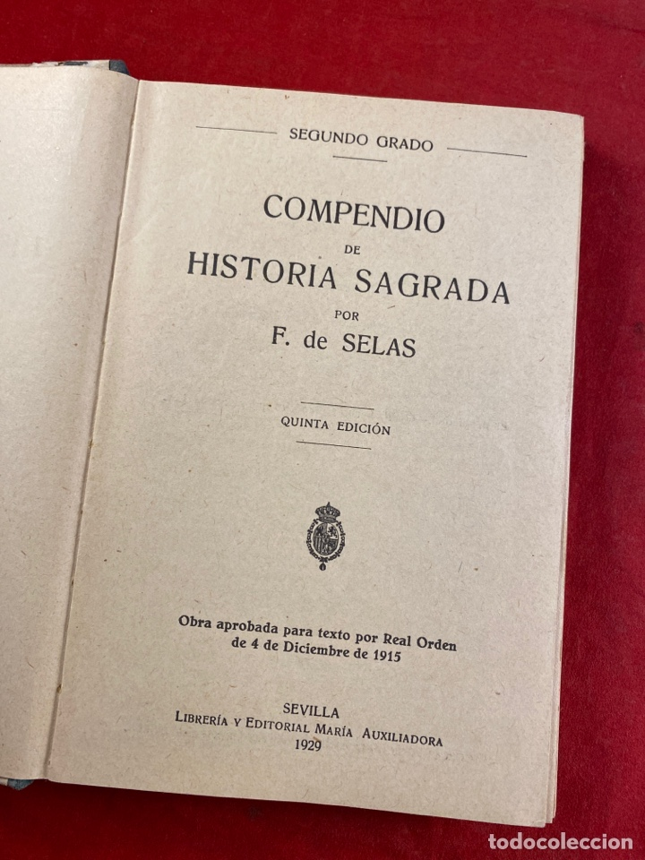 Libros antiguos: HISTORIA SAGRADA - Foto 2 - 222647435