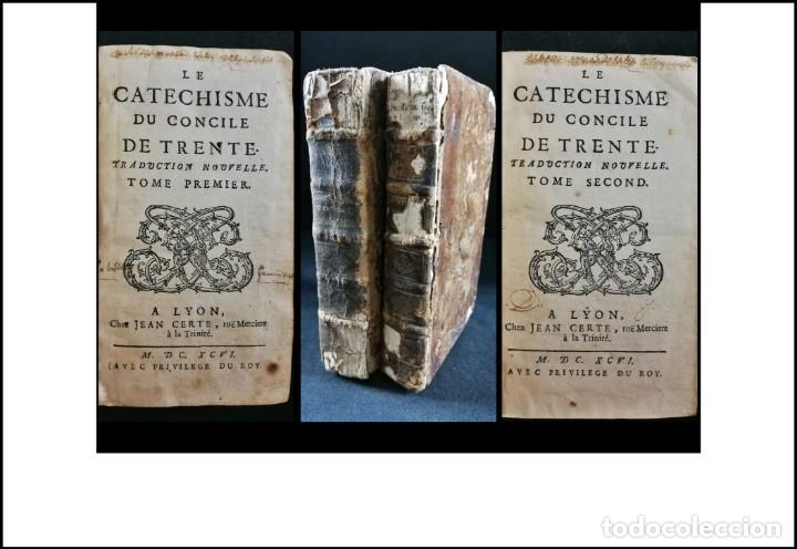 AÑO 1696: EL CATECISMO DEL CONCILIO DE TRENTO. 2 TOMOS DEL SIGLO XVII. (Libros Antiguos, Raros y Curiosos - Religión)