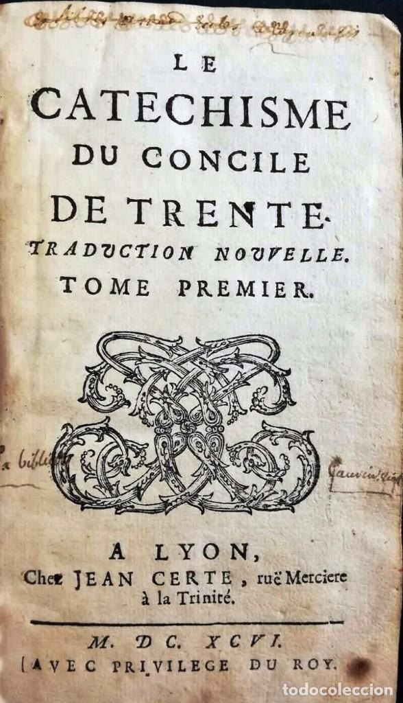 Libros antiguos: AÑO 1696: EL CATECISMO DEL CONCILIO DE TRENTO. 2 TOMOS DEL SIGLO XVII. - Foto 3 - 225591520