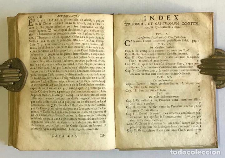 Libros antiguos: CONSTITUTIONES SYNODALES DIOEC. VICEN. IN UNUM COLLECTAE RENOVATAE & AUCTAE. - MUÑOZ, Emmanuele A. - Foto 8 - 226253215