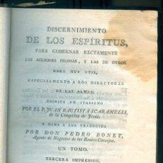 Libros antiguos: NUMULITE L0537 DISCERNIMIENTO DE LOS ESPÍRITUS JUAN BAUTISTA SCARAMELLI 1804 DIRECTORES ALMAS ALMA. Lote 230643315