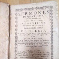 Libros antiguos: ANTIGUO LIBRO SERMONES DE CUARESMA SIETE SABIOS GRECIA 1708 MADRID. LEGAJO PIEL RARO Y UNICO. Lote 231387125