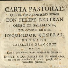 Libri antichi: 1781 - INQUISIDOR GENERAL - FELIPE BERTRAN OBISPO DE SALAMANCA - INQUISICIÓN. Lote 233549385