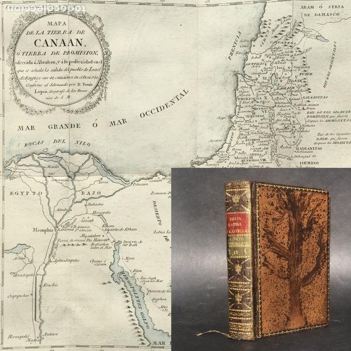 AÑO 1795 LA BIBLIA VULGATA LATINA TRADUCIDA EN ESPAÑOL - MAPA - JOSUE - JUECES - RUTH - REYES - (Libros Antiguos, Raros y Curiosos - Religión)