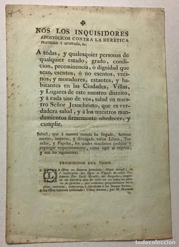 INQUISICIÓN ESPAÑOLA [ÍNDICE DE LIBROS PROHIBIDOS]. NOS LOS INQUISIDORES APOSTÓLICOS...... (Libros Antiguos, Raros y Curiosos - Religión)