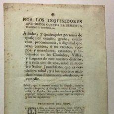 Libros antiguos: INQUISICIÓN ESPAÑOLA [ÍNDICE DE LIBROS PROHIBIDOS]. NOS LOS INQUISIDORES APOSTÓLICOS....... Lote 234852415