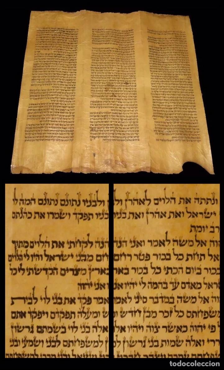 AÑO 1720 - MANUSCRITO HEBREO SOBRE PERGAMINO - PROCEDE DE TURQUÍA - 61 X 56 CM - TORÁ - BIBLIA. (Libros Antiguos, Raros y Curiosos - Religión)
