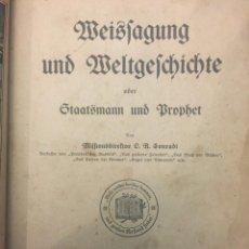 Libros antiguos: WEISSAGUNG UND WELTGESCHICHTE STAATSMANN UND PROPHET 1924 - PROFECÍA E HISTORIA MUNDIAL. Lote 235150280